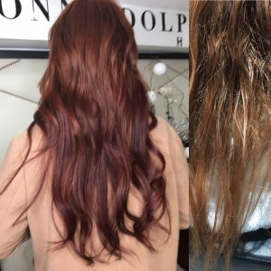 Red hair Extensions Before and After